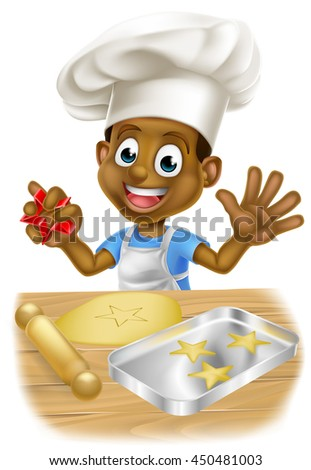 A happy cartoon black little boy child chef making cookies in a big chefs hat - stock vector