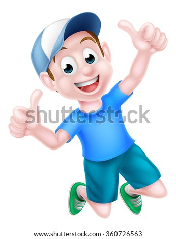 A happy cartoon boy child in a baseball cap jumping for joy and giving a thumbs up. - stock vector