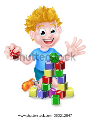 A happy cartoon boy child kid playing with building or learning blocks - stock vector