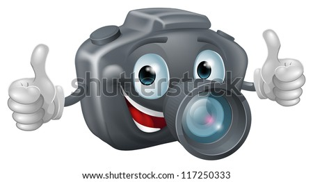 A happy cartoon camera mascot grinning and giving a double thumbs up - stock vector