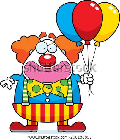 A happy cartoon clown with a bunch of balloons. - stock vector