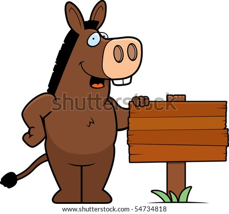 A happy cartoon donkey standing next to a wood sign. - stock vector