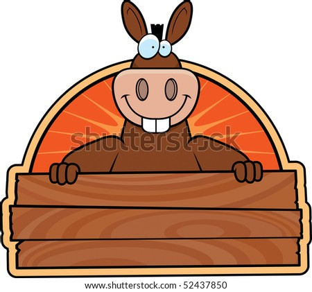 A happy cartoon donkey with a wooden sign. - stock vector