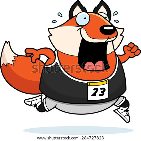 A happy cartoon fox running in a race. - stock vector