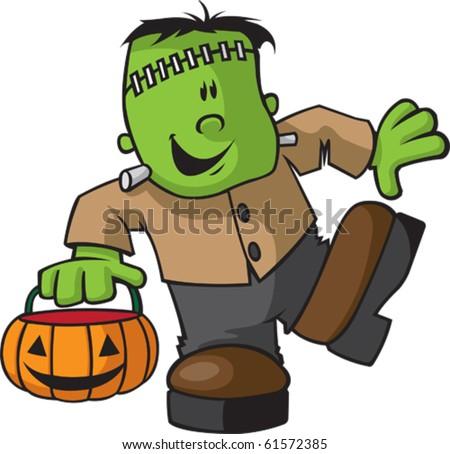 A happy Cartoon Juvenile Frankenstein. Vector file available. - stock vector