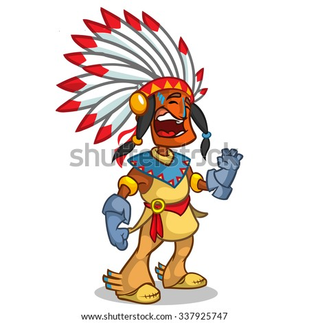A happy cartoon Native American standing and smiling. Vector character isolated on white background - stock vector