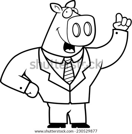 A happy cartoon pig businessman in a suit. - stock vector