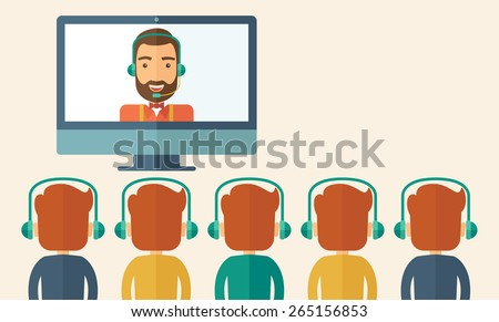 A happy Caucasian businessman in a monitor with beard giving a business presentation with three men in front of him wearing their headphones. Business presentation concept. A contemporary style - stock vector