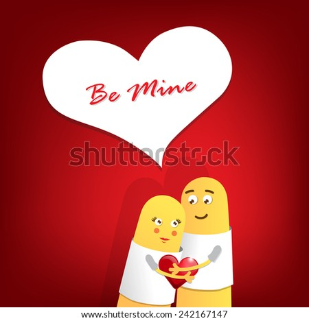 A happy couple in love with painted smiley and hugging. Vector Illustration - stock vector