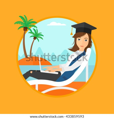 A happy graduate lying in chaise long. Graduate in graduation cap working on laptop. Graduate relaxing on a tropical beach. Vector flat design illustration in the circle isolated on background. - stock vector