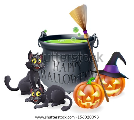 A happy Halloween cartoon illustration of witches cauldron, cats and carved pumpkins - stock vector
