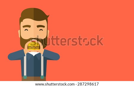 A happy Hipster office man eating hamburger as his snack break. Relaxing concept. A Contemporary style with pastel palette, orange tinted background. Vector flat design illustration. Horizontal layout - stock vector