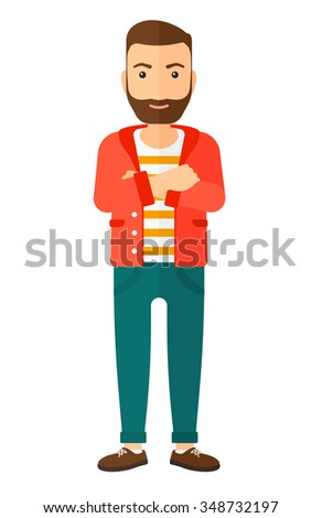 A happy standing man crossing his arms vector flat design illustration isolated on white background. Vertical layout. - stock vector