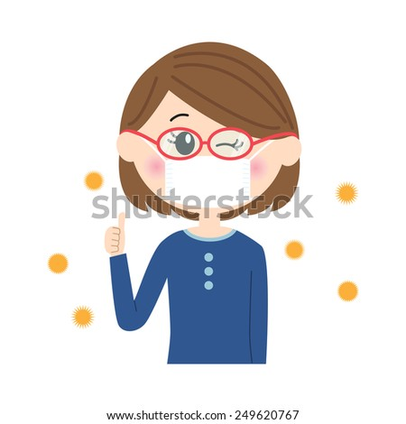 A happy young woman winking with a mask and glasses on, allergen flowing in the air, vector illustration - stock vector