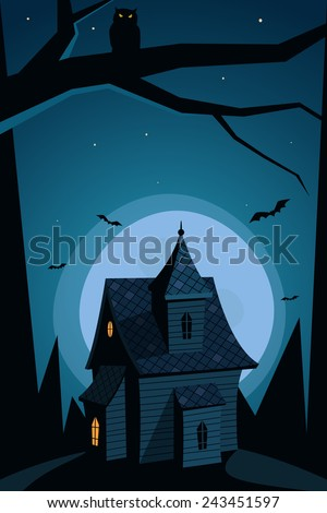 A haunted house on the hill with moon in background, Halloween cartoon illustration. - stock vector