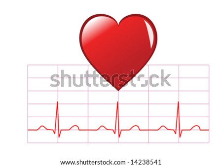 a healthy heart vector illustration with a large red heart over a cardiac trace on a white background - stock vector