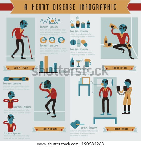 A heart disease info graphic - stock vector