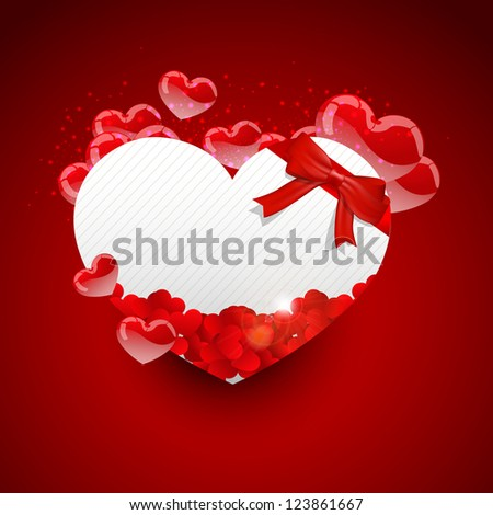 A heart shape card for valentines day on a red background. - stock vector