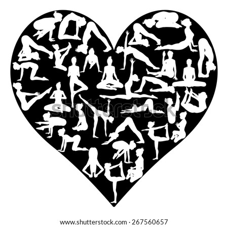A heart shape made from silhouettes in yoga or pilates poses, concept for a love of the exercise or sport of yoga or pilates - stock vector