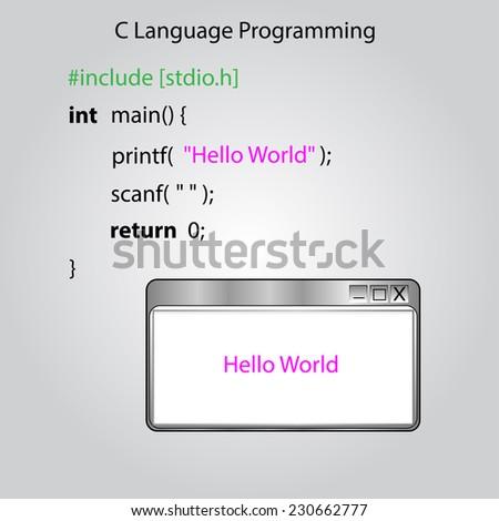 "A ""Hello, world!"" program is a computer program that outputs ""Hello, World!"" - stock vector"