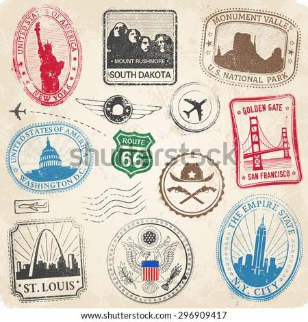 A High Detail collection of various stamps of Famous monuments and icons of US culture - stock vector
