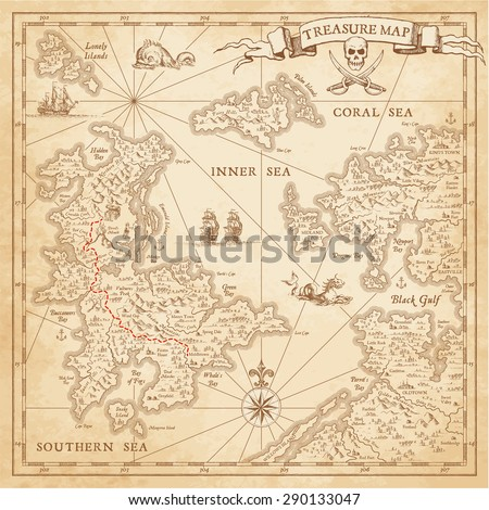 """A High detail, grunge Vector """"Treasure Map"""" with lots of decoration hand drawn with incredible details.   - stock vector"""