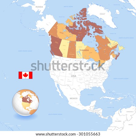 A High Detail vector Map of Canada, with capitals and major cities, a 3D globe centered on North America with canada Highlighted, and Canada flag. 