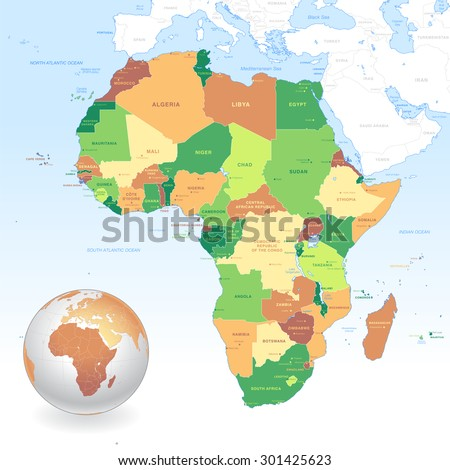 A High Detail vector Map of the African continent with a classic color set. All countries are named with the respective english name.Each country has its capital and major cities position and name. - stock vector