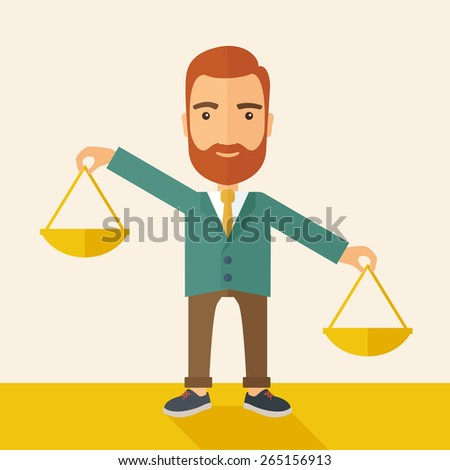 A hipster Caucasian businessman with beard carrying a balance scale with both hands weighing want and need. Balancing and priorization concept.  A contemporary style with pastel palette, beige tinted - stock vector