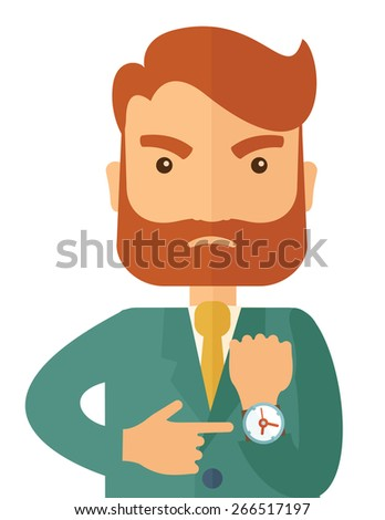 A hipster Caucasian businessman with beard is angry pointing his wristwatch inside the office. Angry concept. A contemporary style. Vector flat design illustration isolated on white background - stock vector