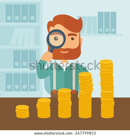 A hipster Caucasian businessman with beard looking at his growing business - stock vector