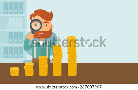 A hipster Caucasian businessman with beard looking his growing business in financial crisis concept. Economy and money, coin and success. When others falls, we rise up. A contemporary style with - stock vector