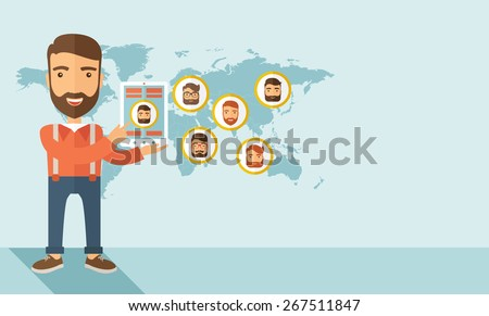 A hipster Caucasian man standing holding tablet with social media. A contemporary style with pastel palette soft blue tinted background. Vector flat design illustration. Horizontal layout with text - stock vector