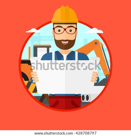 A hipster engineer watching a blueprint at construction site. Man with engineer blueprint. Engineer holding a blueprint. Vector flat design illustration in the circle isolated on background. - stock vector
