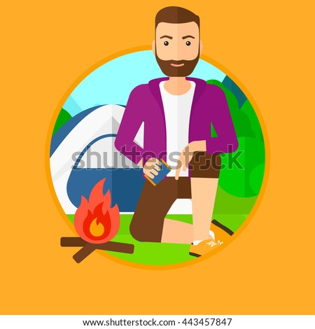 A hipster man with the beard kindling a campfire on the background of camping site with tent. Tourist relaxing near bonfire. Vector flat design illustration in the circle isolated on background. - stock vector