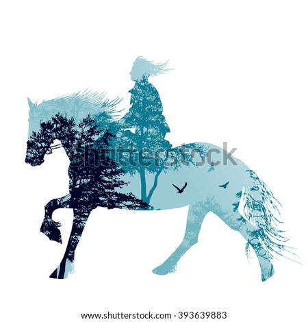 A horse rider silhouette with landscape, vector illustration - stock vector