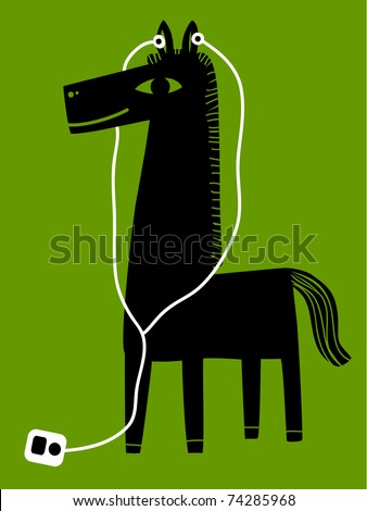 a horse with earphones - stock vector