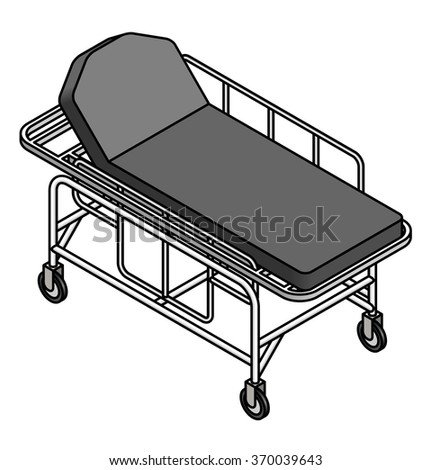 A hospital gurney / bed with wheels and railings. Mattress is in raised / inclined position. - stock vector