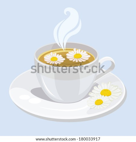 A hot cup of chamomile tea - stock vector