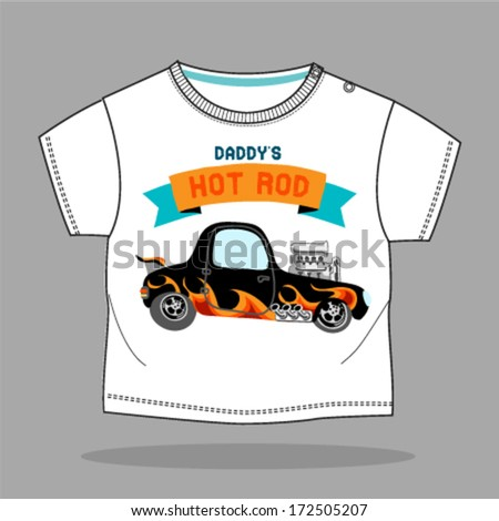 A hot rod car with flame paint.Vector illustration - stock vector