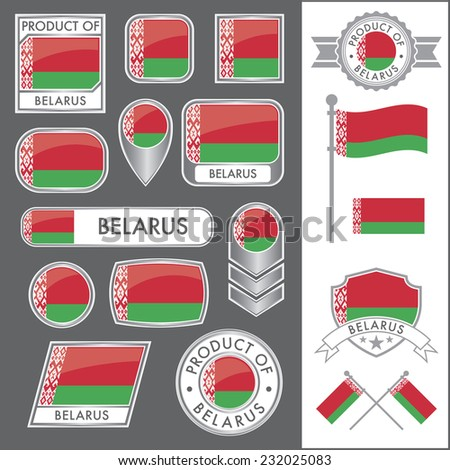 A huge vector collection of Belarusian flags in multiple different styles. In total there are 17 unique treatments that will be useful for a variety of applications. - stock vector