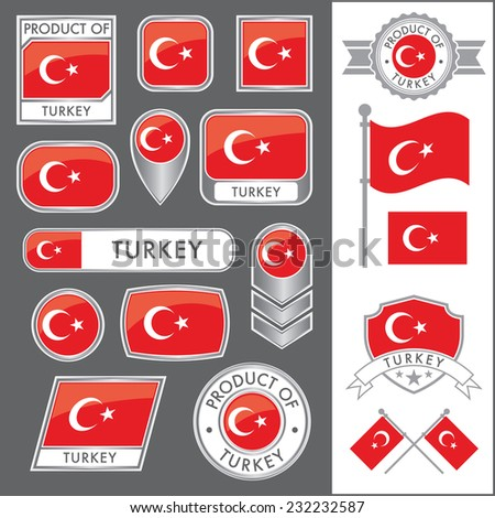 A huge vector collection of Turkish flags in multiple different styles. In total there are 17 unique treatments that will be useful for a variety of applications. - stock vector