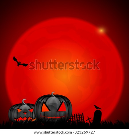 A huge vector red moon design with shiny black scary Halloween pumpkins  - stock vector