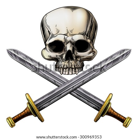 A human skull and crossed swords pirate style sign in a vintage woodblock style - stock vector