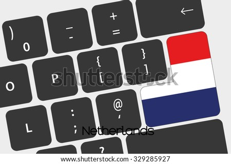 A Illustration of a Keyboard with the Enter button being the Flag of Netherlands - stock vector