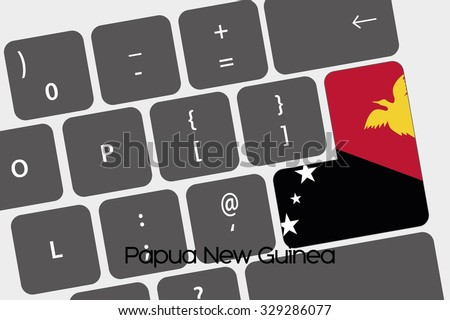 A Illustration of a Keyboard with the Enter button being the Flag of Papua New Guinea - stock vector