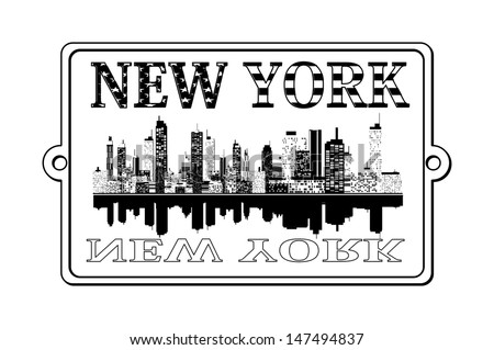 A illustration of New York label - stock vector