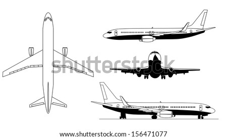 A illustrations of airplanes silhouettes - stock vector
