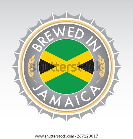 A Jamaican beer cap crest in vector format. The bottle cap features the Jamaican flag flanked by two golden wheat icons. - stock vector