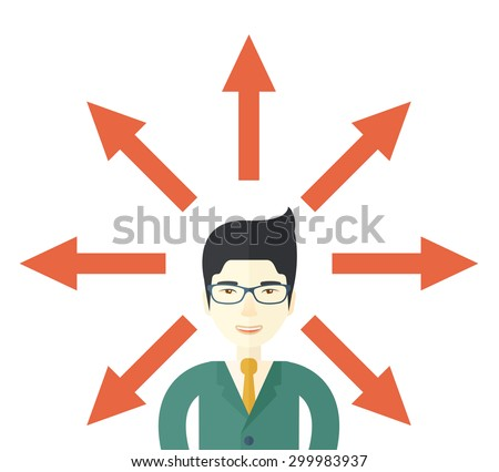 A japanese businessman being confused with too many directions, presenting with arrows, to make decision. A Contemporary style. Vector flat design illustration isolated white background. Square layout - stock vector